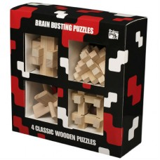 4 Classic Wooden Puzzles