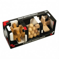 3 Classic Wooden Puzzles
